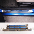 Stainless Outer Door Sill Scuff Plate 4pcs For Honda Civic 4dr Sedan 2016 2017 Blue