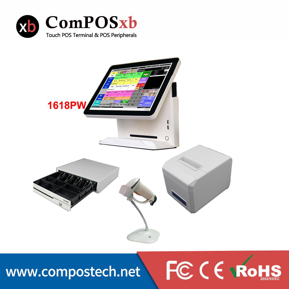 Nice white POS system 15 inch Touch Screen Billing Machine/All in One POS/ Restaurant Cash Register with Free Shipping free shipping 15 touch screen all in one pos system cash register cashier pos machine
