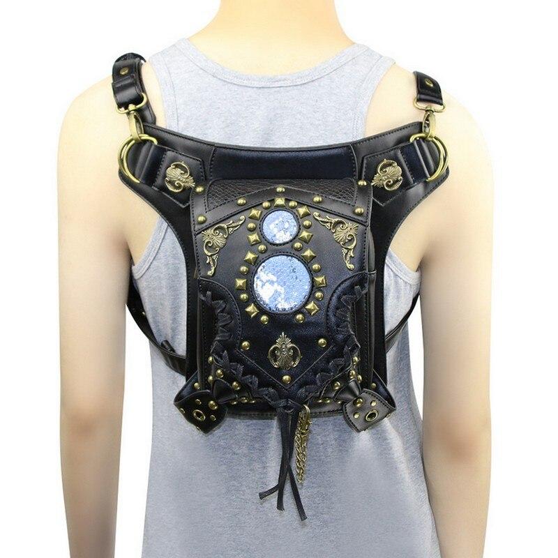 Fashion Gothic Steam punk Skull Retro Rock Handbags Men Women font b Waist b font Bag