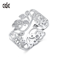 CDE 925 Sterling Silver Rings for Women Hollow Secret Garden Engagement Zircon Finger Ring Bijoux Femme Jewelry Size 6-10(China)