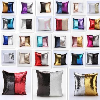 Sequin Pillow Cover Cushion Case Glitter Mermaid Fairy Tale Faux Soft Suede Throw Pillowcase Party decore Sofa Bed Decor 40X40cm