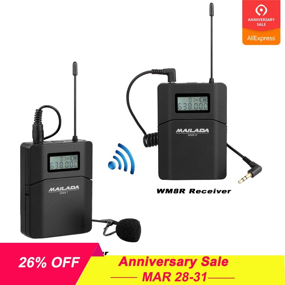 WM8 Professional UHF беспроводной микрофон системы петличный нагрудные микрофонный приемник + передатчик для камера регистраторы DSLR телефон