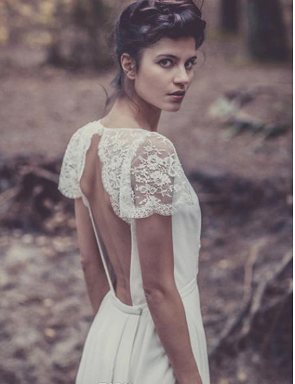 Custom Laure de Sagazan Bridal Gowns with sleeve lace vintage Sexy ... 6819e2f6b97e