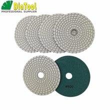 DIATOOL – tampons de polissage flexibles diamant, 6 pièces, #800, 125MM, pour pierre, granit, liaison blanc humide, ne se décolore pas, disques de ponçage