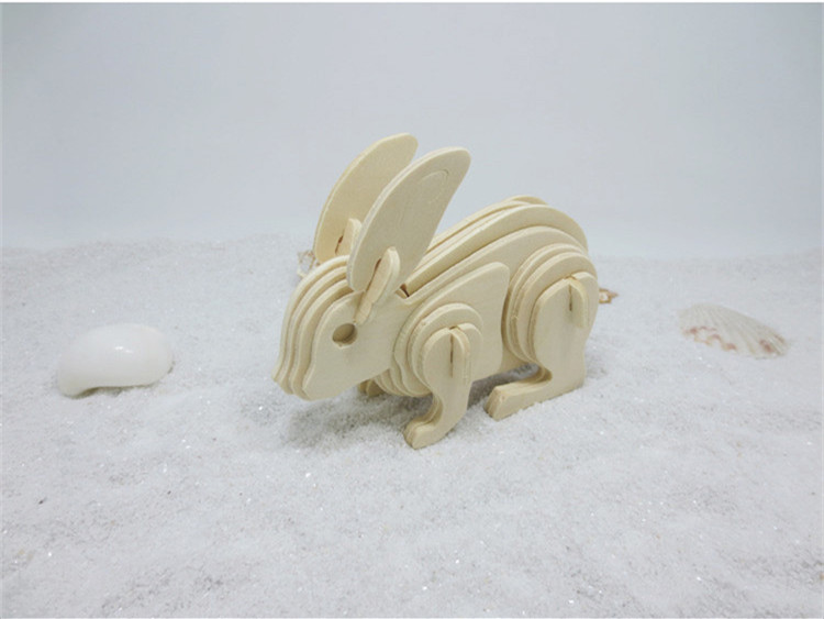 1set DS255 Wooden 3D Puzzle Toys Model Rabbit Shaped Jigsaw Toy for Children and Students Free Shipping Russia 1toy линкор военная техника