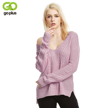 GOPLUS 2019 Spring knitted Sweater Women V Neck backless Sexy Long Sleeve Cross Tie Pullover Casual Befree Pull Femme Blouse Top