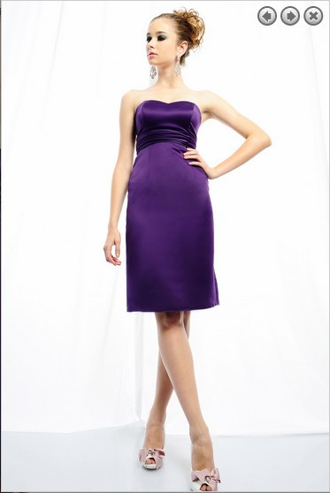 free shipping brides maid   dresses   2016 new fashion bridal gowns plus size short sweetheart strapless purple   bridesmaid     dresses