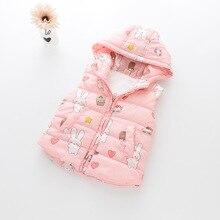 Sleeveless Jackets Winter Cartoon Ribbit Printed Thick Princess Hooded Girls Vest Kids Warm Baby Waistcoat  2-8T