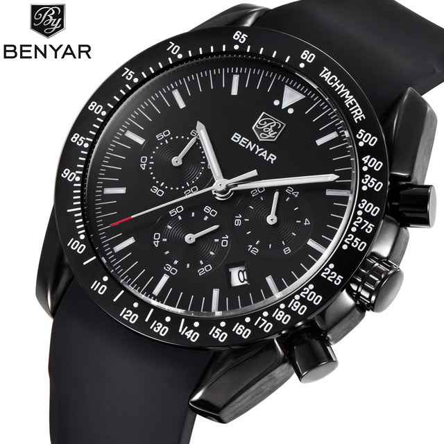 e99d21cb8dc BENYAR Fashion Sport Chronograph Tachymetre Relógios Dos Homens da Faixa de  Borracha À Prova D