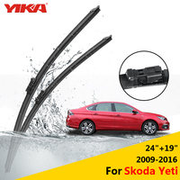 YIKA Car Washer Rubber Glass Wiper Blades For Skoda Yeti 24 19 Fit Push Button Arms