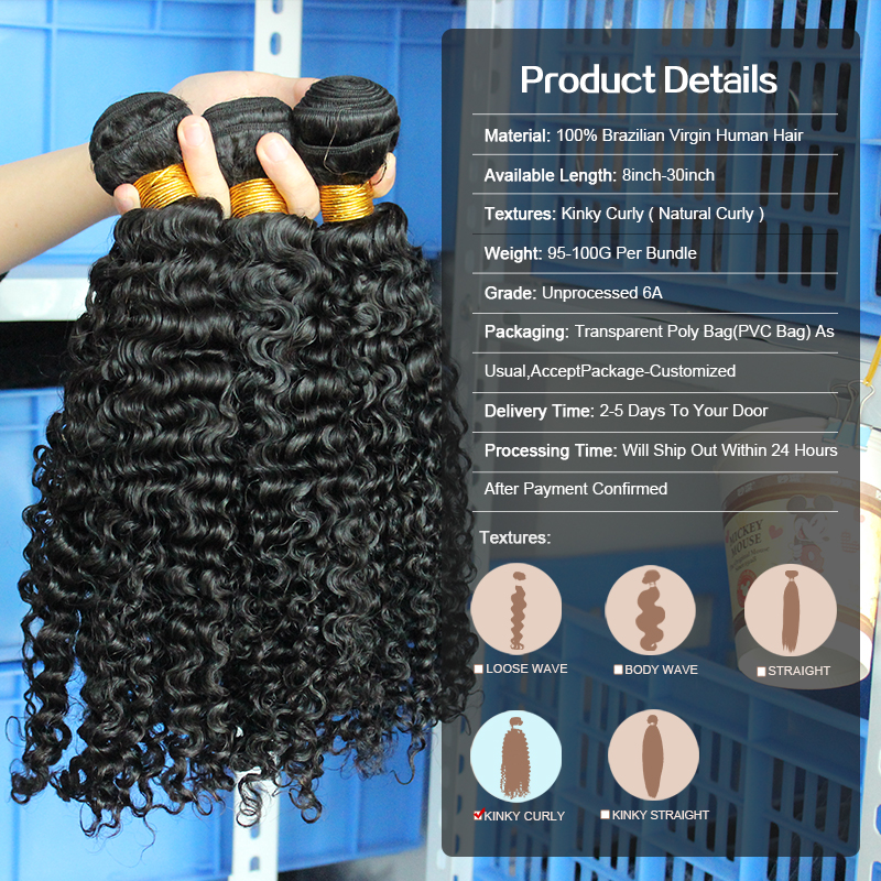 3B 3C Kinky Curly Weave մարդկային մազերի - Մարդու մազերը (սև) - Լուսանկար 6