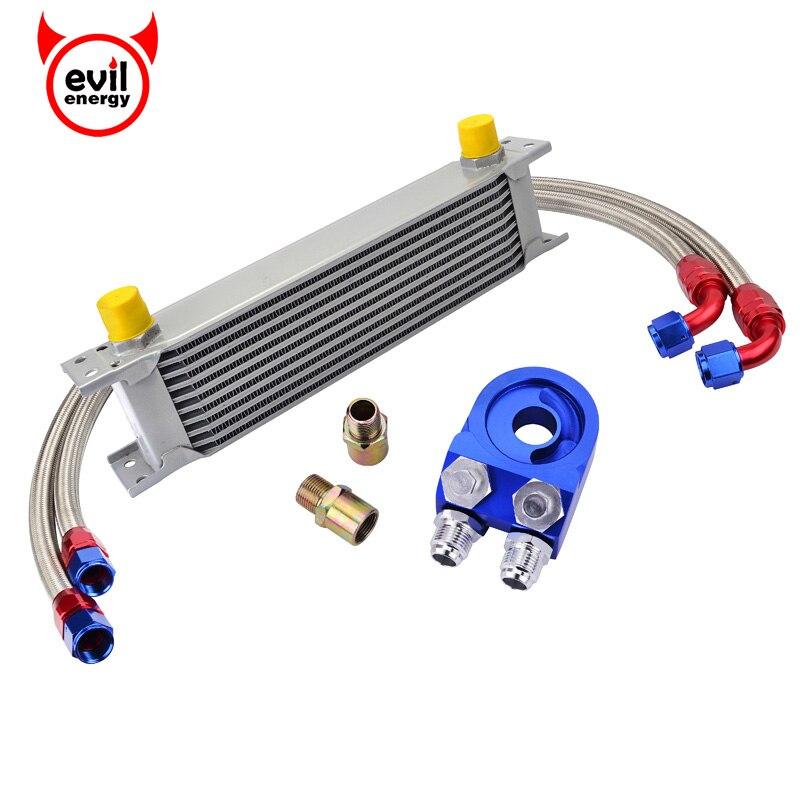 Evil energy 10Row AN10 refroidisseur d'huile de Transmission de moteur universel + adaptateur d'huile plaque de refroidisseur de filtre + Tube de tuyau d'huile en acier inoxydable