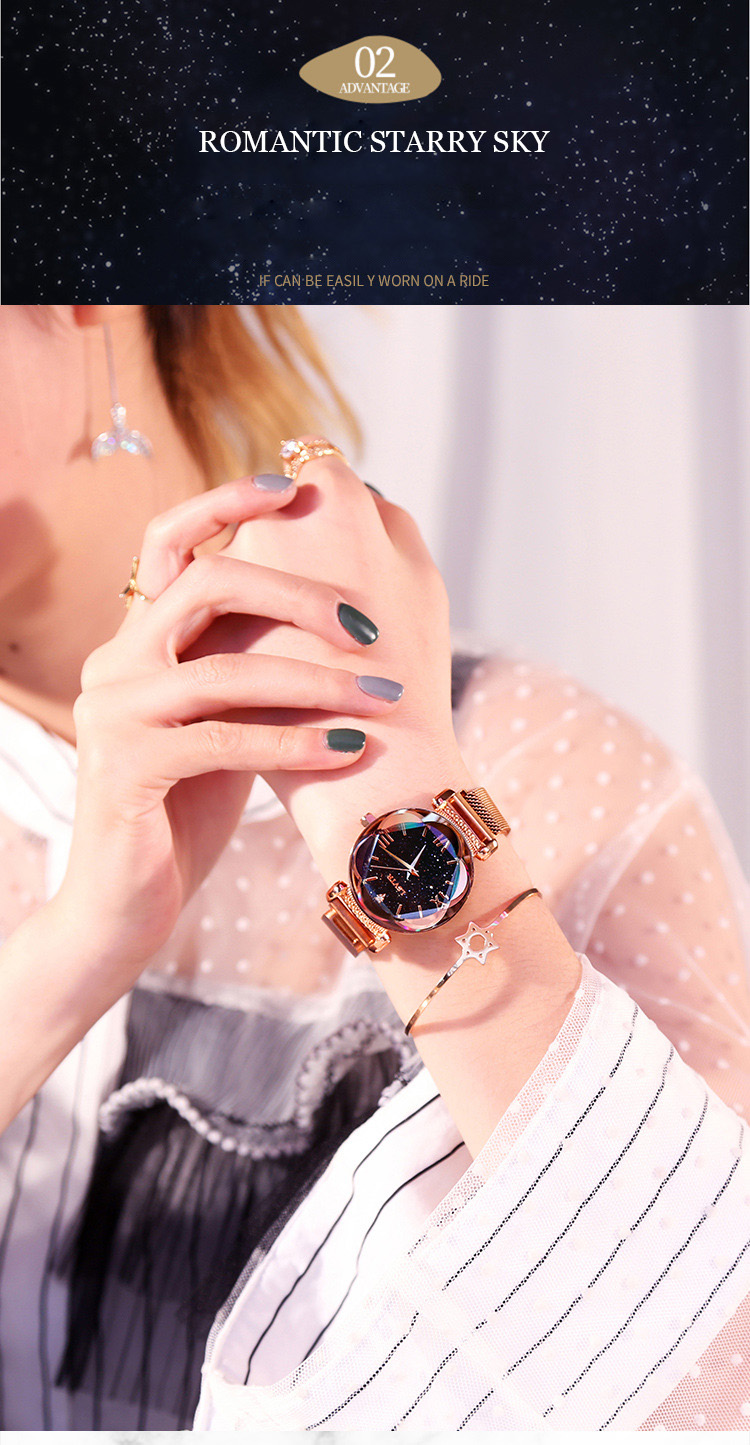 2019 Popular Women Watches Fashion Elegant Magnet Buckle Luxury Purple Lady Wristwatch 2018 Starry Sky Roman Numeral Gift Clock (5)