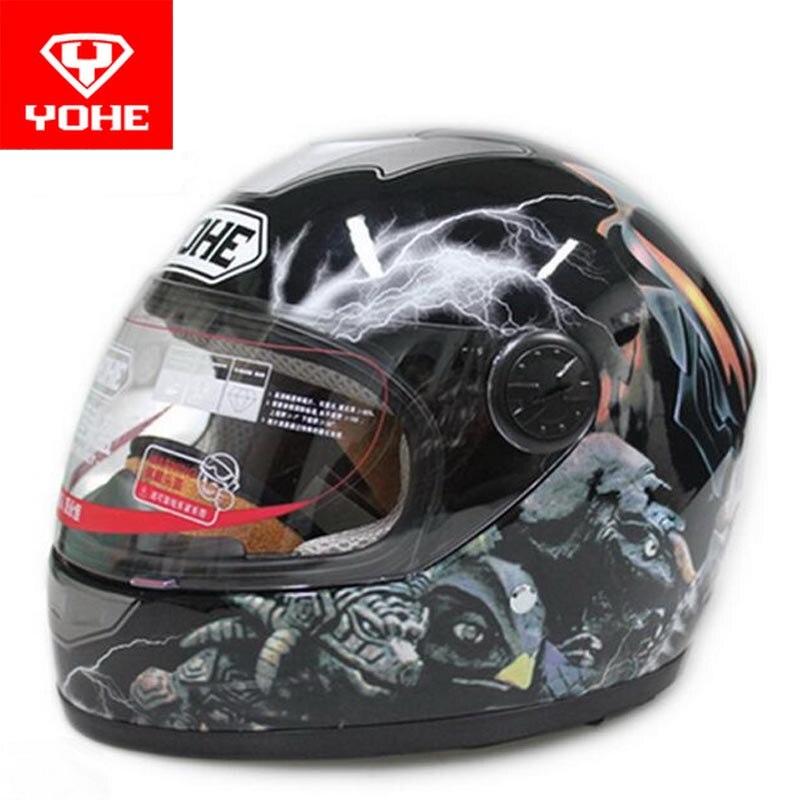 цена на 2017 New Fashion YOHE Child safety motorcycle helmet ABS YH959s electric bicycle helmets children full face helmet PC Lens visor