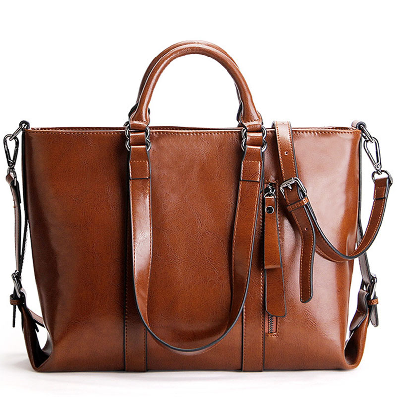 Fashion Genuine Leather Women bag Handbag Brand Luxury Oil Wax Leather Shoulder bags Large Capacity Casual Tote Messenger bag qiaobao fashion women oil wax genuine leather women bag large capacity tote bag big ladies shoulder bags famous brand bolsas