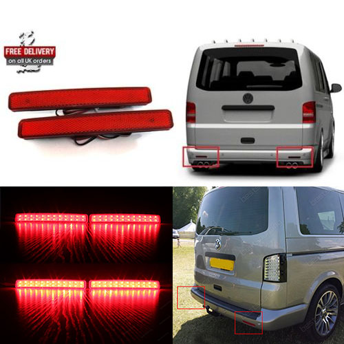 2x VW T5 Transporter / Caravelle / Multivan 2003-11 Red Rear Bumper Reflector LED Tail Stop Brake Light (CA243)