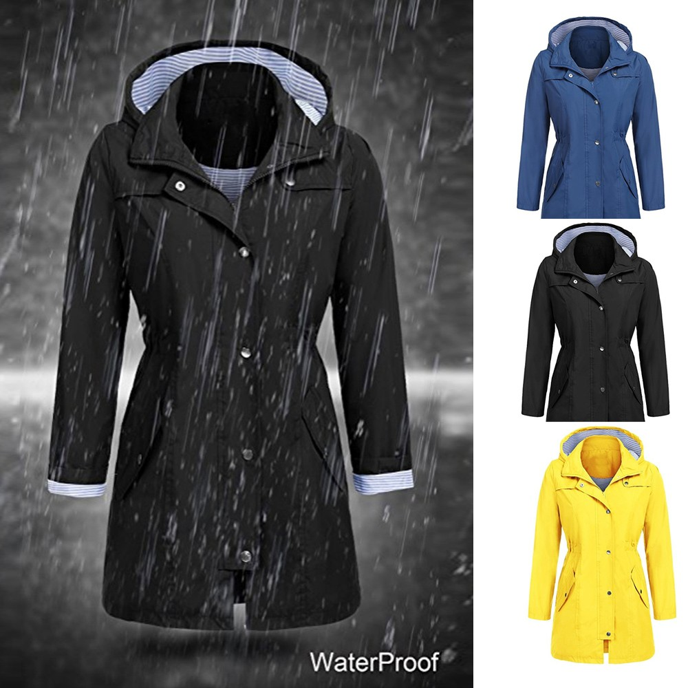 Vintage 2019 Autumn Fashion Woman Classic Hoodie Waterproof   Trench   Coat Raincoat Business Outerwear Overcoat Outdoor 10Dec 17