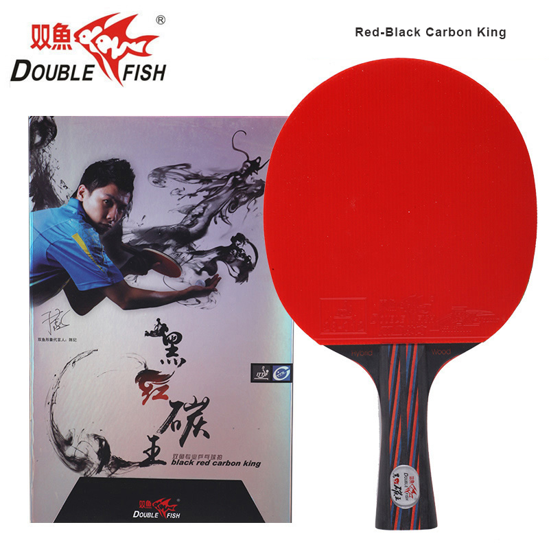 2018 New Double Fish Red Black Carbon King Long Handle Table Tennis Racket With ITTF Approved Ruber For Loop Fast Attack