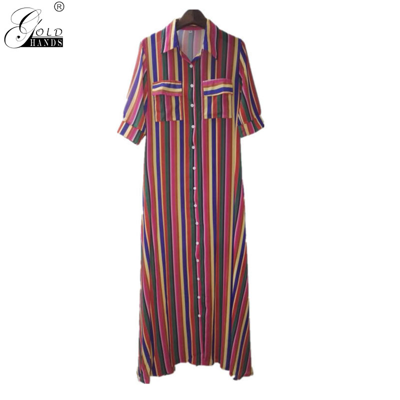 Gold Hands New Color Red Stripe Print Dress Dress Loose Casual Color Striped Strappy Dress Retro Street Split Style Free Ship