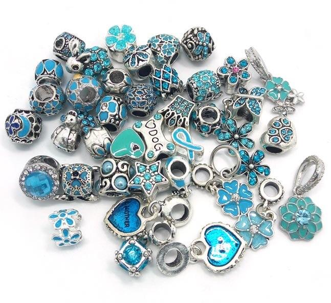 Prix pour Livraison gratuite nouveau 40 pcs mix style lac bleu couleur strass et huile goutte à goutte charmes perles fit Européenne Pandora bracelet DIY