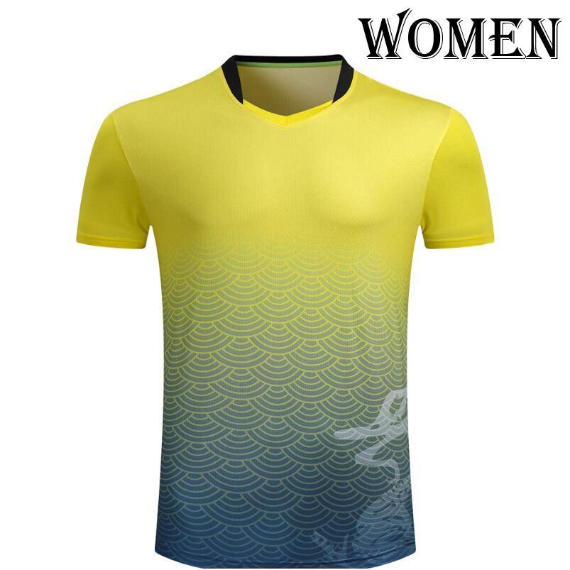 Женские/мужские спортивные футболки для бадминтона, теннисные футболки с короткими рукавами, футболки из полиэстера для настольного тенниса, одежда для пинг-понга, футболки из Джерси - Цвет: Women Yellow shirt