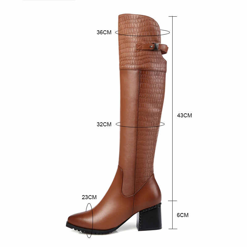 Fanyuan Katı Perçin Yüksek Topuk Diz Yüksek Çizmeler Punk Çile Ayakkabı Yan Fermuar Sivri Burun Çizmeler Moda Hakiki deri binici botları