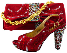 Wine Color Shoes and Bag Set Decorated with Rhinestone African Women Matching Italian Shoe and Bag Set for Wedding Italian Shoes