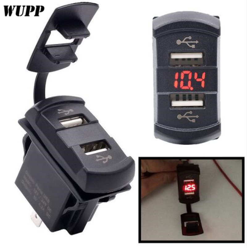 WUPP Waterproof 5V Adaptateur Moto Double USB Charger With Voltmeter for Phone/GPS Power Supply Port Socket 4.2A DC 12-24V