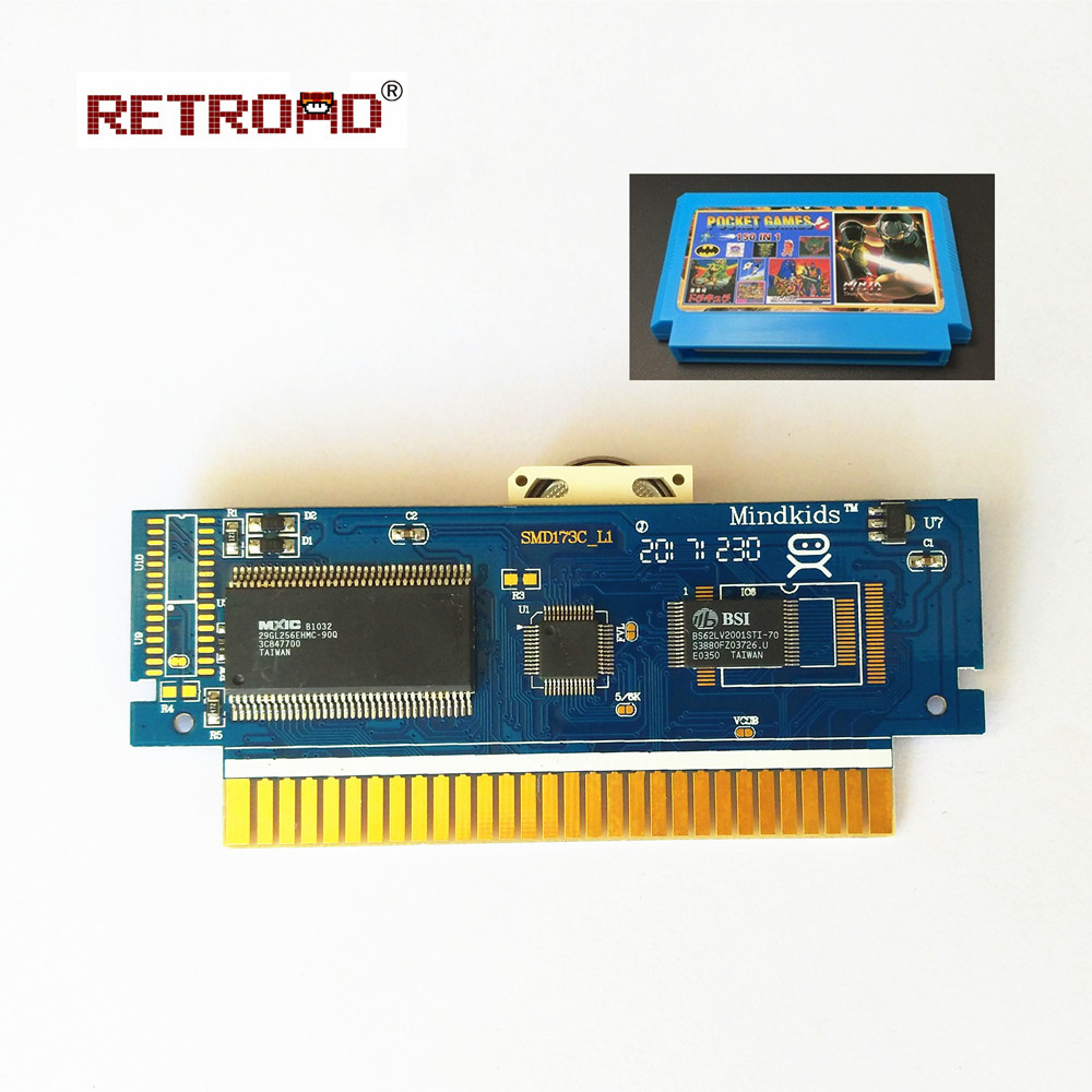 60Pins 8 Bit  Game Cartridge 150in1 With Battery Save High Quality