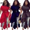 IMYSEN Summer Autumn Fashion Ladies Dress O Neck Short Sleeve Solid Red Black Blue Lotus Leaf