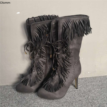 Olomm Women Mid-Calf Winter Fringe Boots Stiletto High Heels Boots Round Toe Ethnic Grey Casual Shoes Women Plus US Size 5-15