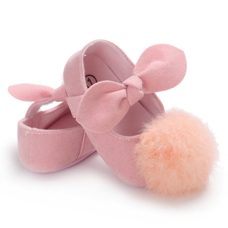 Fashion Newborn Baby Girls Shoes Sweet Bowknot Ball Print Canvas Footwear Infant Toddler Soft Sole First Walkers