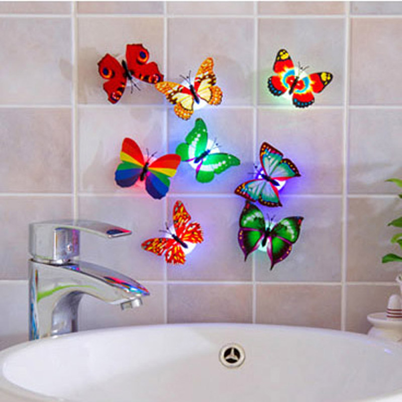 7 Colorful Butterfly LED Night Light Lamp With Sticker for Christmas Wedding Decoration Night Lamp
