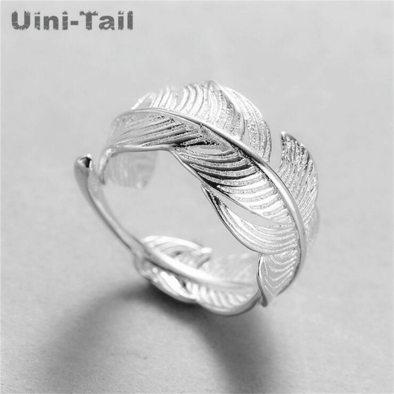 Uini-Tail 2018 Hot New 925 Sterling Silver Open Feather Ring Adjustable Size Girl Jewelry Fashion Tide Flow High Quality Jewelry