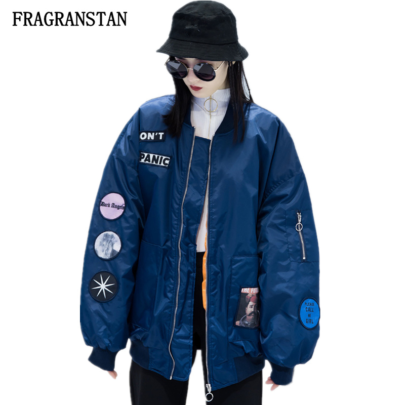 2018 Autumn Winter Thicken Keep Warm Ladies Parkas Harajuku Embroidery Patch Designs Printed Fashion Casual Loose
