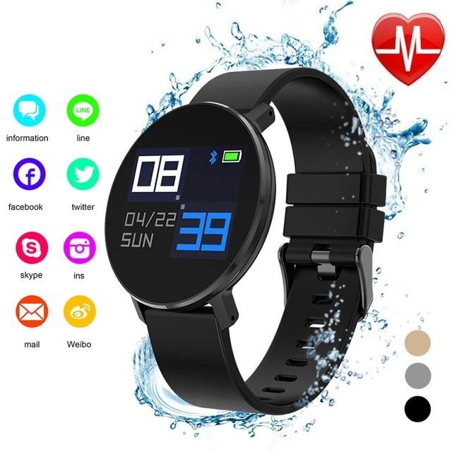 ZLIMSN Sport Smart Watch Blood Pressure Oxygen Wristband Waterproof Tempered Gla
