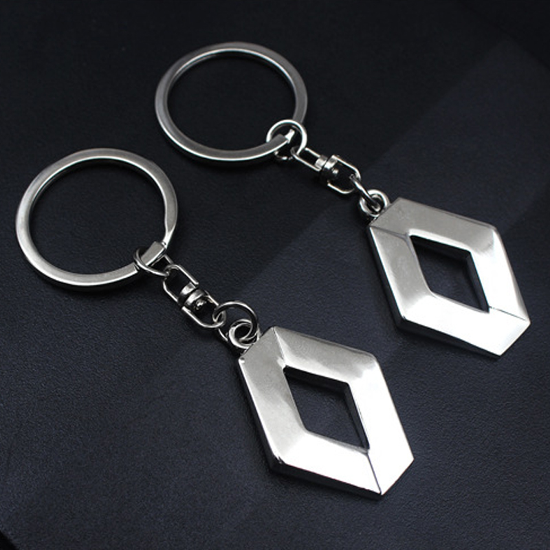New Chrome Metal Renault key chain keyring Clio Twingo