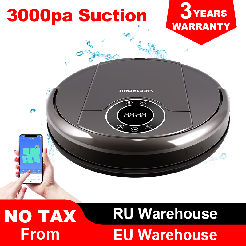 LIECTROUX ZK808 Robot Vacuum Cleaner,WiFi App,Map Display, 3000pa Suction,Smart Memory,Wet Dry Mop for Pet Hair and Floor&Carpet