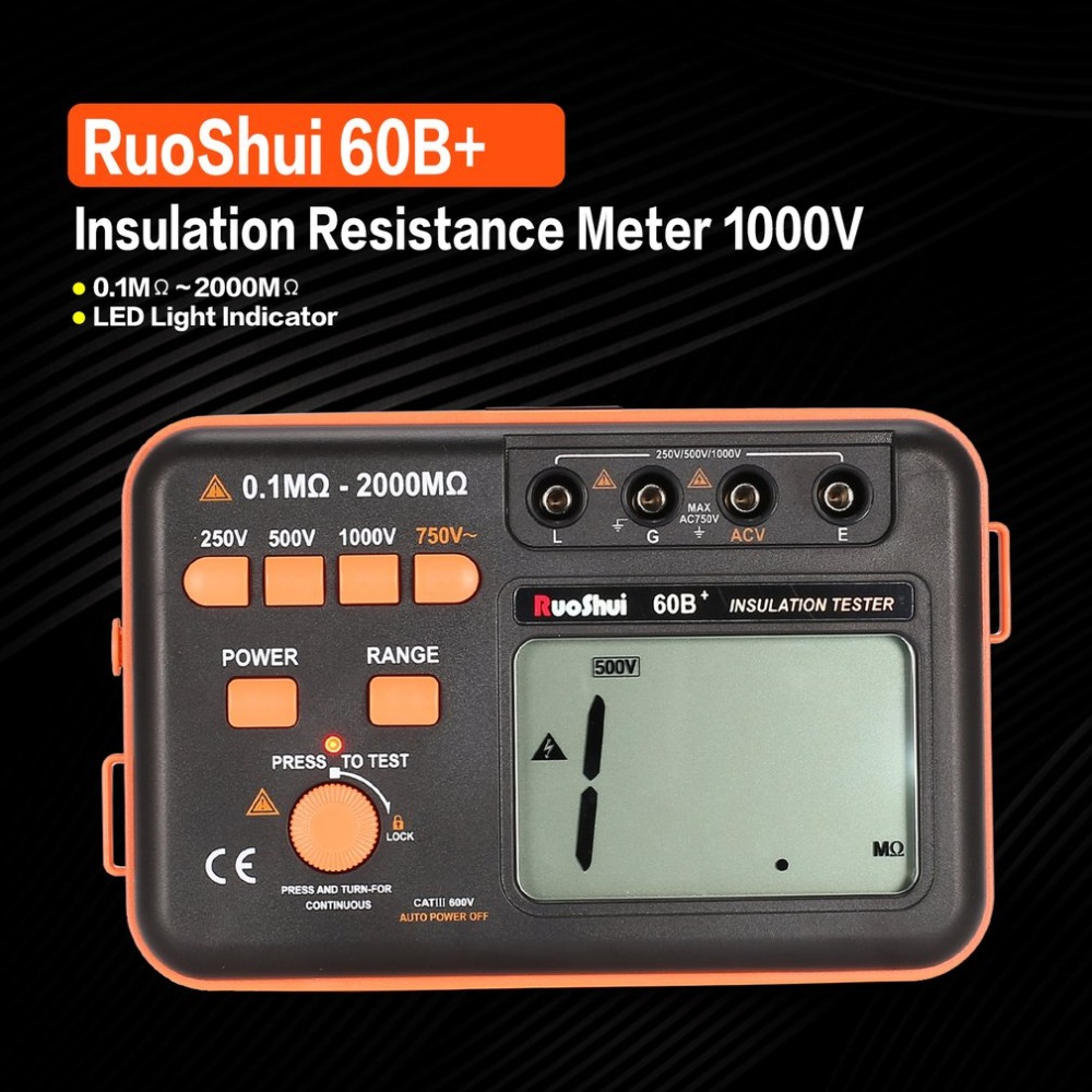 RuoShui 60B+ 1000V Digital Auto Range Insulation Resistance Meter Tester Megohmmeter Megger High Voltage LED Indication mastech ms5215 high voltage digital insulation resistance tester megometro megger 5000v 3ma temp 10 70c