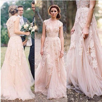 robe de mariee Champagne Boho Wedding Dress 2019 mariage trouwjurk Bridal Wedding Gowns Plus Size Deep V Neck vestido de noiva