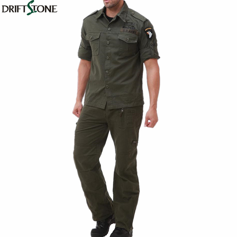 Cotton Mens Military Shirts Long Sleeve Tactical Army Shirts and Military Pants Plus Size Camisa Masculina Army Uniform Set