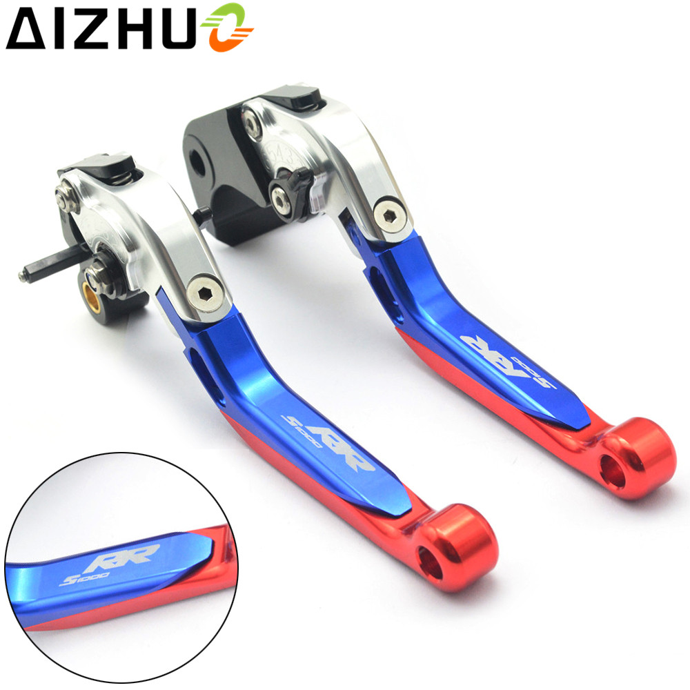 With S1000RR LOGO Motorcycle Clutch Brake Lever Adjustable Extendable CNC Aluminum Levers For BMW S1000RR S1000 RR 2015 2016