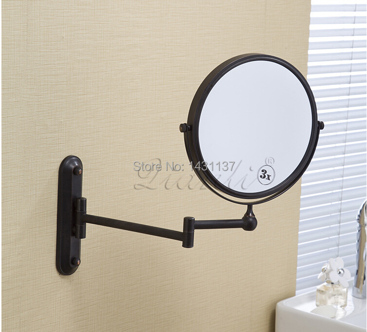 8 ORB Double Side Bathroom Folding Mirror Wall Mounted Extend With Dual Arm 1x3x Magnifying