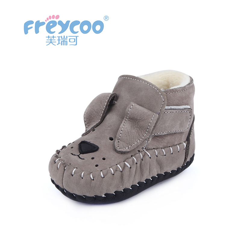 Freycoo 2018 Kids Shoes Winter Children Prewalker For Boys And Girls Dogs Print Warm Cotton Shoes1229