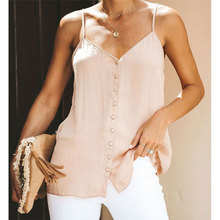 Sexy V-neck Spaghetti Strap Button Tops Fashion Backless Loose Summer Camis Ladies Casual Simple Wild Tank Tops High Quality New