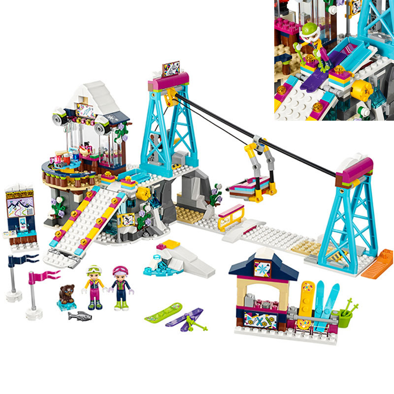 01042 Friends LegoINGlys 41324 Snow Resort Ski Lift Gift Club Ski Vacation Skiing Figure Building Blocks Bricks Toys For Girls 2018 new friends model building blocks toys snow resort chalet kid bricks toy girls 41323 compatible legoes friends gift kid set