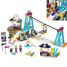 01042 Amigos LegoINGlys 41324 Resort de Esqui de Neve Elevador Presente Clube de Férias de Esqui Esqui Figura Blocos de Construção Tijolos Brinquedos Para Meninas