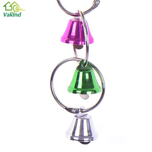 Colorful Parrot Bird Toys Metal Ring Bell Hanging Cage 5