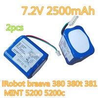 2pcs Braava Robot Vacuum Cleaner Battery 7 2V 2500 MAh Battery Adaptation IRobot Braava 380 380t