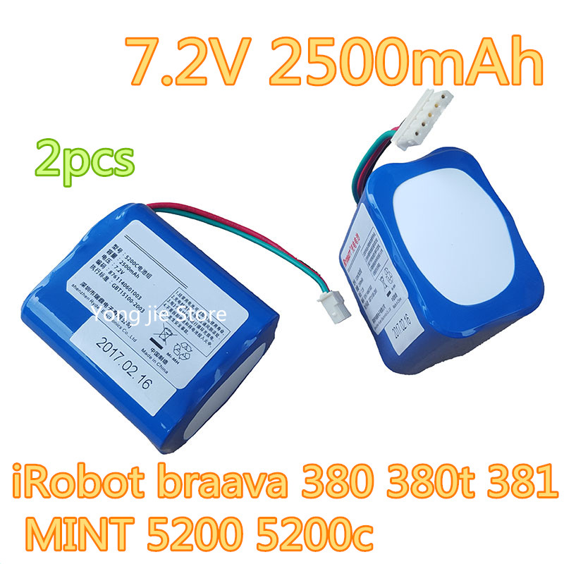 2pcs Braava Robot Vacuum Cleaner Battery 7.2V 2500 mAh Battery adaptation iRobot Braava 380 380t  MINT 5200 5200c braava